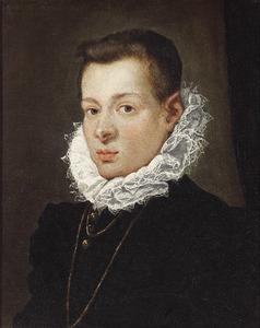 Portret van een jonge man met kanten kraag