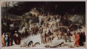 De kruisiging in een winterlandschap