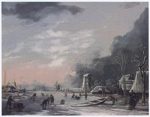Winterlandschap met drie molens bij een dorp