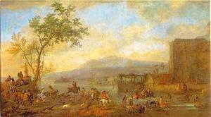 Rivierlandschap met een hertenjacht
