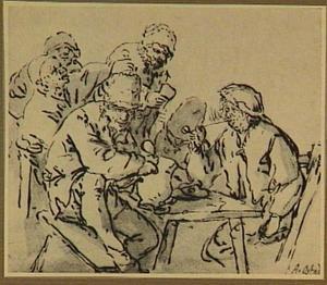 Boeren drinkend en rokend aan tafel