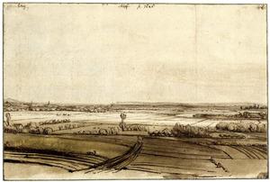 Gezicht op de Rijn bij Kleef, met geheel links de Eltenberg en rechts Huissen
