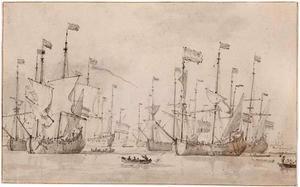 Vloot voor anker in een haven