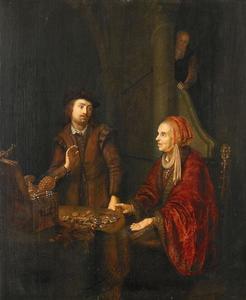 Interieur met een man en vrouw bij een tafel met geld en kostbaarheden