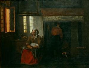 Interieur met een vrouw die een eend plukt
