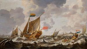 Schepen op het Hollands Diep bij Willemstad