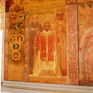 Paus Urbanus III met links van hem de wapens van de paus, de keizer en Brabant alsmede de wapens van de vier hoofdsteden van Brabant