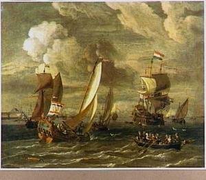 Spiegeljacht en andere vaartuigen op het IJ voor Amsterdam