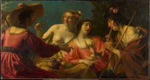 Een fluitspelende herder met vier nimfen