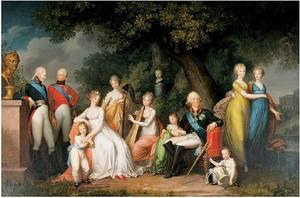Groepsportret van tsaar Paul I van Rusland (1754-1801) met zijn gezin