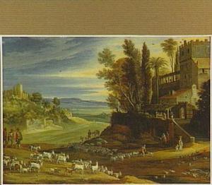 Zuidelijk berglandschap met herders en hun kuddes; op de achtergrond de maaltijd te Emmaus