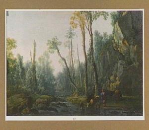 Bebost landschap met een herder en zijn kudde bij een riviertje