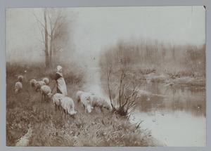 Herderin bij een beek