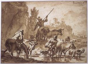 Herders met vee wadend door een beek