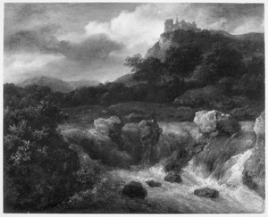 Berglandschap met waterval, rechts op de achtergrond kasteel Bentheim