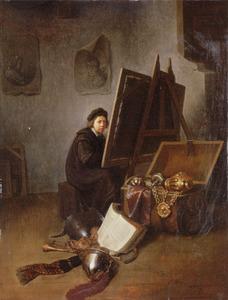 Zelfportret van de kunstenaar achter zijn ezel