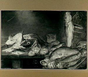 Visstilleven van vissen, schelpen, oesters en een kat