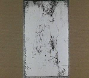 Studie van een staande man in een mantel