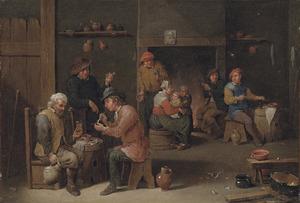 Rokende en drinkende boeren in een gelagkamer