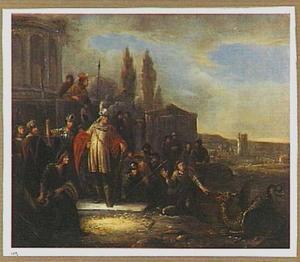 Daniël voedert de draak, terwijl koning Cyrus toekijkt (Daniel 14:23-41)