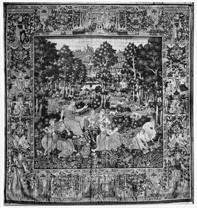 Nausicaä en haar gezellinnen eten en musiceren (2e tapijt in de reeks)
