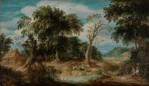 Bebost landschap met een boerenpaar bij een beek