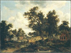 Boslandschap met huizen