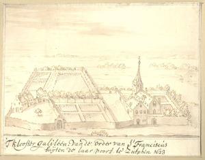 Vogelvluchtgezicht op het klooster Galileën bij Zutphen anno 1623