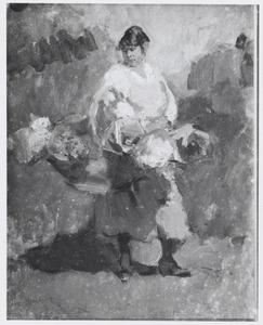 Vrouw met bloemenmand