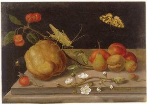 Stilleven met vruchten, sprinkhaan en bonte bessenvlinder