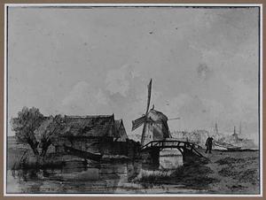 Rivierlandschap met molen
