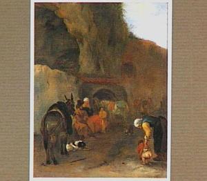 Rustende boeren en hun dieren bij een rotswand