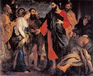 Christus en de door farizeeërs opgebrachte overspelige vrouw (Johannes 8:2-11)
