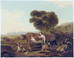Landschap met vee en een melkmeid die enekele honden verjaagt