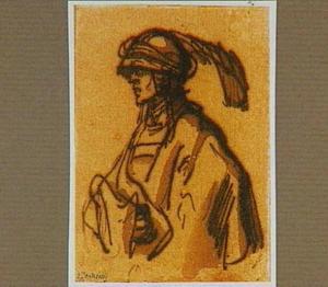 Man met gepluimde hoed (of helm)