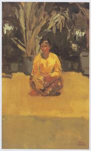 Zittende Balinese vrouw
