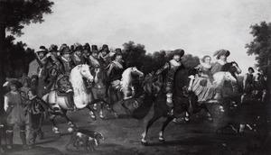 Cavalcade met vorsten uit de families Oranje en Nassau in gezelschap van de Winterkoning en -koningin