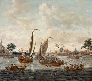 Schepen op de Amstel bij Amsterdam