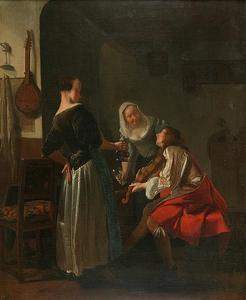 Vioolspeler en twee jonge vrouwen