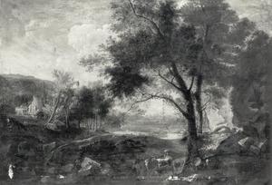 Bebost landschap met herders en vee op weg