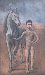 Jongen met een paard aan de hand