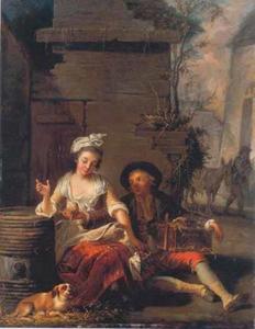 Amoureus paar met duiven in een kooi en een hond