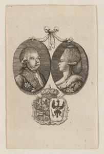 Portretten van Willem V van Oranje-Nassau (1748-1806) en Wilhelmina von Preussen (1751-1820)