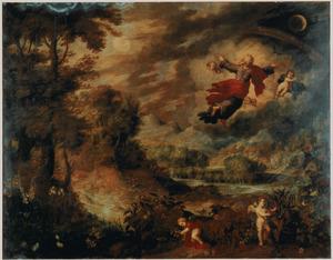 De eerste scheppingsdag: God de Vader schept de zon, de maan en de sterren