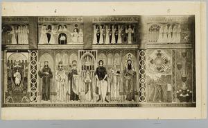 Het mysteriespel van de wijze en de dwaze maagden, de heilige maagd, de zeven heiligen en Johannes op Patmos.