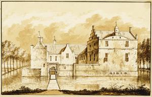 Voor- en rechterzijde van Onstaborg (of Nieuw-Onsta) bij Wetsinge