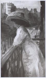 Dame op een balkon