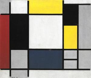 Composition with yellow, red, black, blue and gray