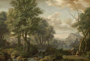 Zuidelijk landschap met figuren bij een riviertje
