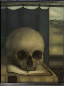 Stilleven met schedel op boek